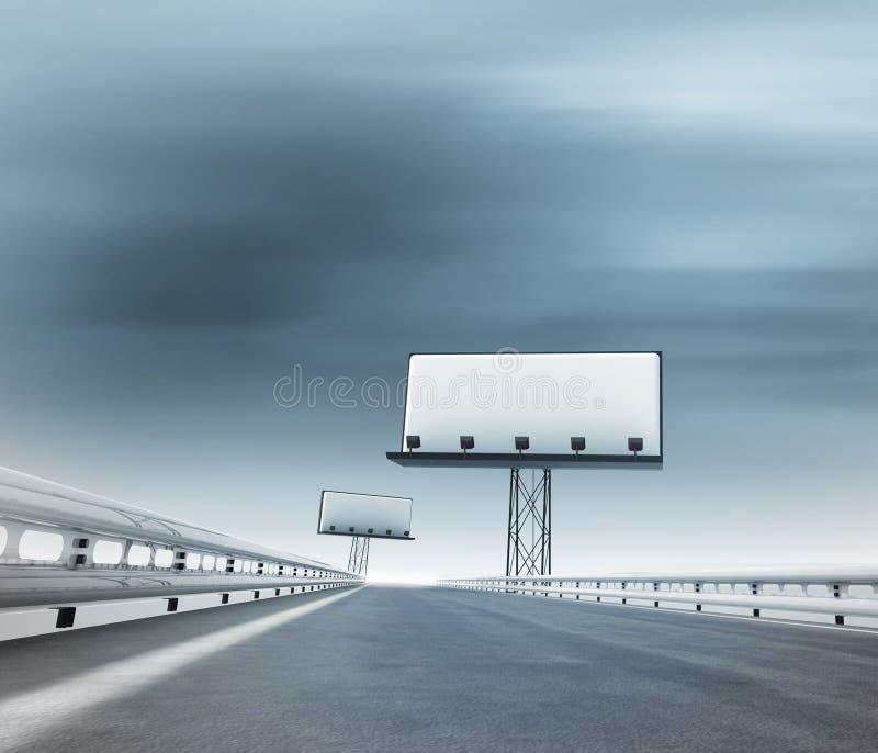 Хайвей с 2 афишами afar с запачканным небом бесплатная иллюстрация