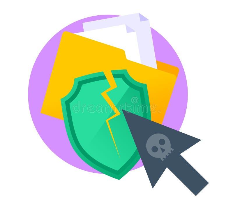 Хакеры атакуют данные по компьютера и палантина конфиденциальные плоский il иллюстрация штока
