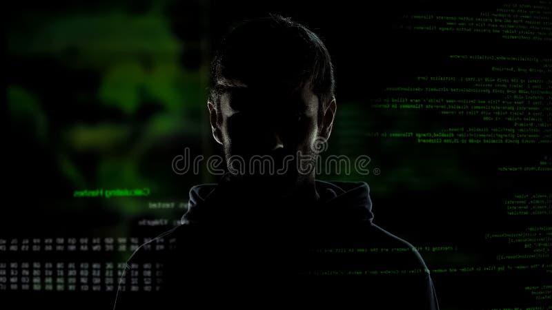 Хакер анонимного интернета мужской с предпосылкой иллюстрации номеров и кодов стоковые изображения