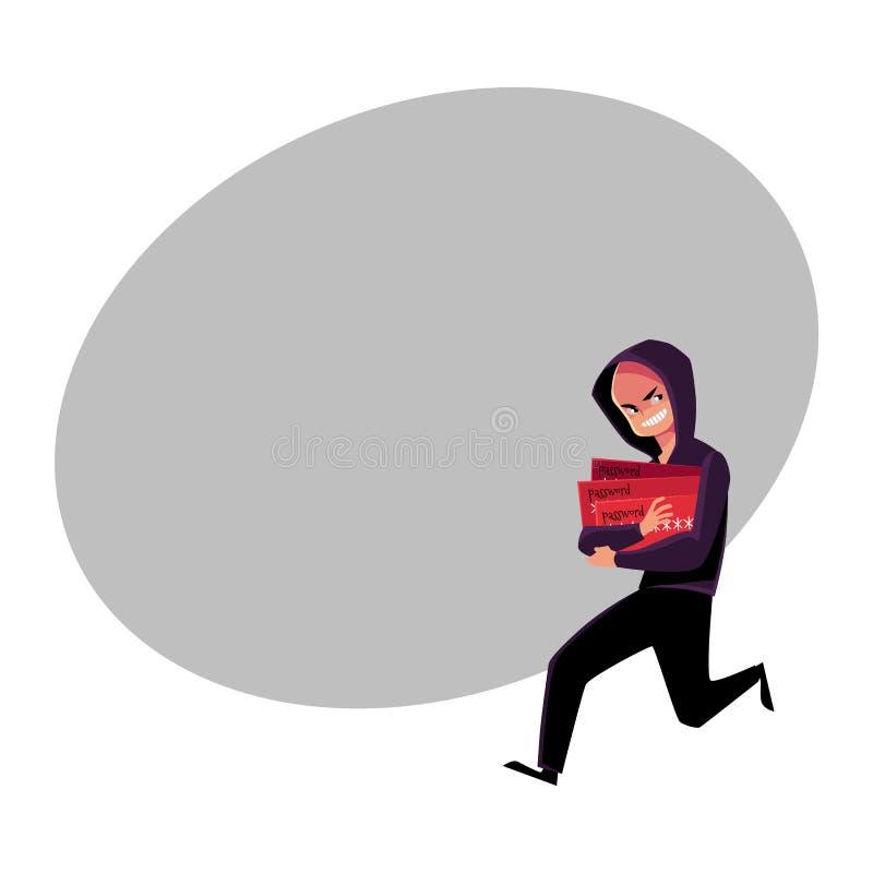 Хакер в черноте бежать прочь, очковтирательство кредитной карточки, концепция похищения иллюстрация штока