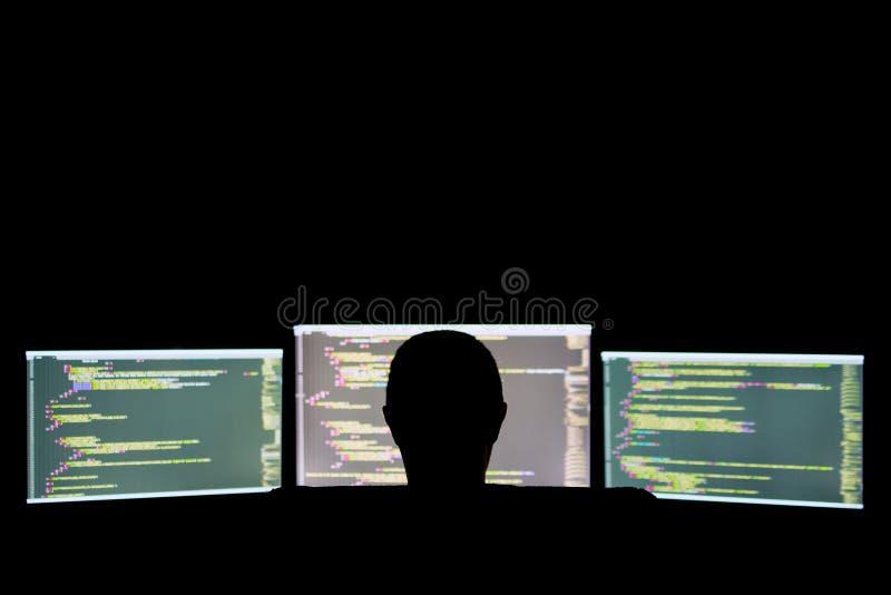 Хакер или шутиха в темноте стоковая фотография rf
