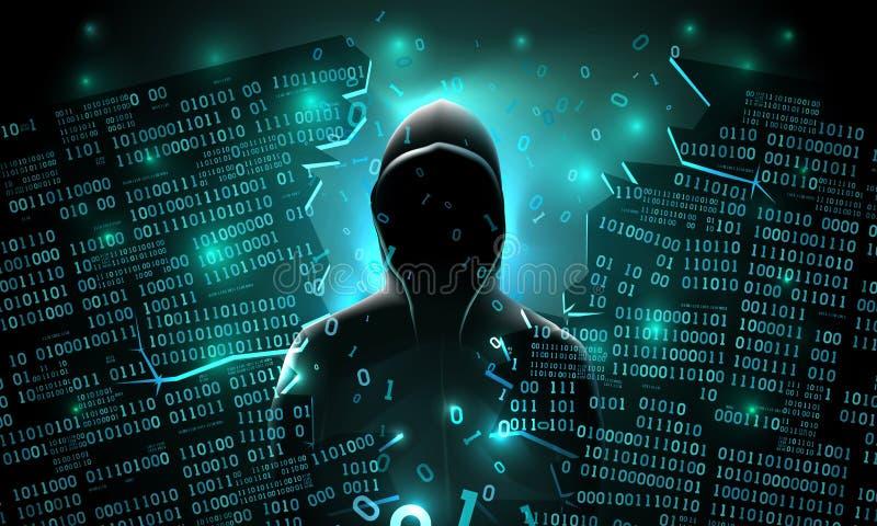 Хакер используя интернет прорубил абстрактный сервера компьютера, базу данных, хранение сети, брандмауэр, похищение данных иллюстрация вектора