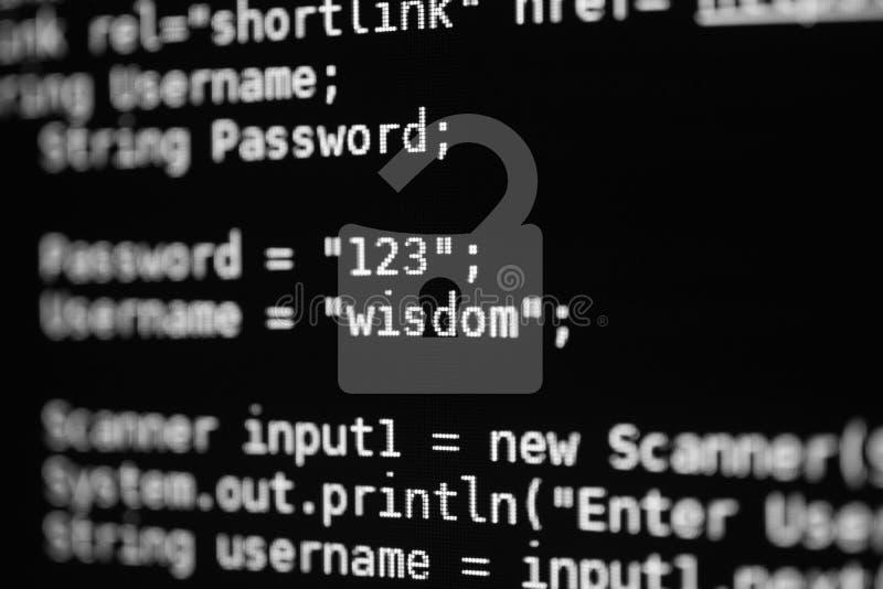 Хакер ищет данные входа с веб-сайтов DoF стоковое изображение rf