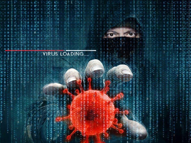 Хакер и компьютерный вирус - концепция стоковое изображение