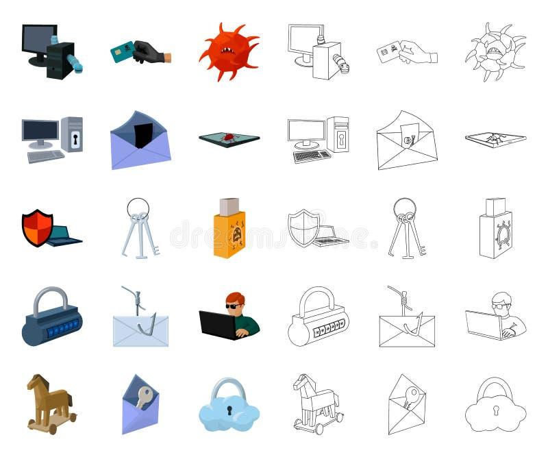 Хакер и рубить мультфильм, значки плана в установленном собрании для дизайна Сеть запаса символа вектора хакера и оборудования иллюстрация штока