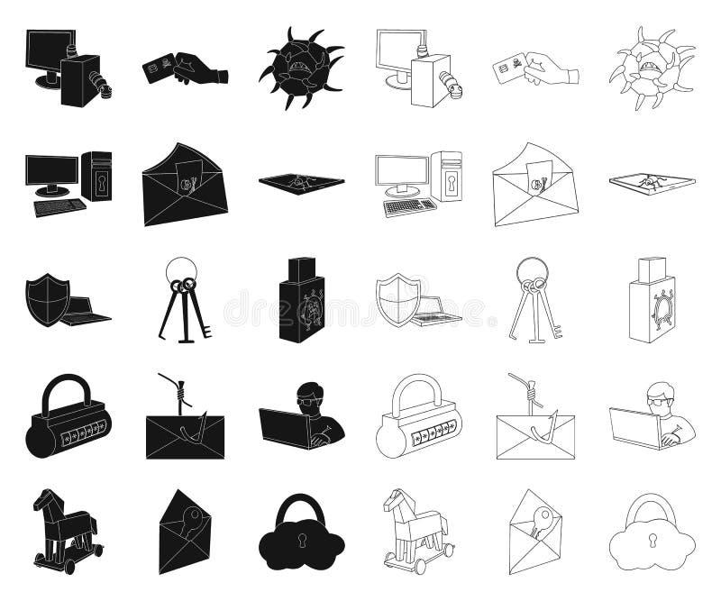 Хакер и рубить чернота, значки плана в установленном собрании для дизайна Сеть запаса символа вектора хакера и оборудования иллюстрация вектора