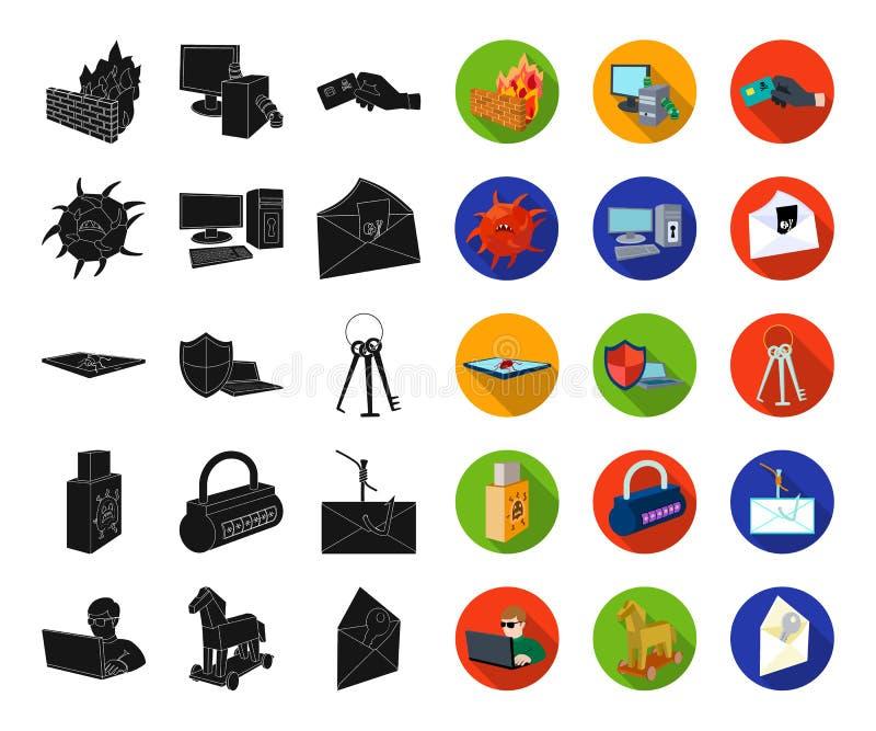 Хакер и рубить черные, плоские значки в установленном собрании для дизайна Сеть запаса символа вектора хакера и оборудования бесплатная иллюстрация