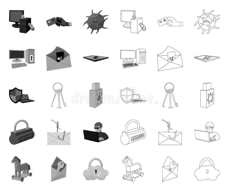 Хакер и рубить mono, значки плана в установленном собрании для дизайна Сеть запаса символа вектора хакера и оборудования иллюстрация вектора