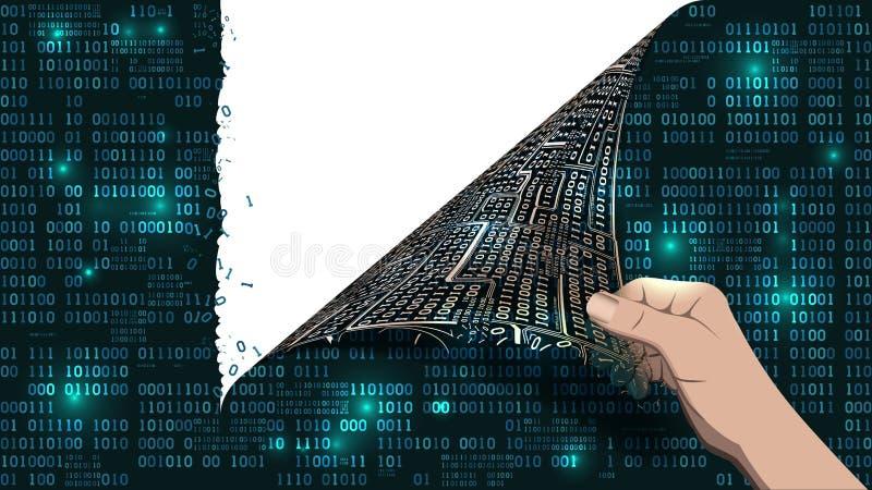 Хакер ломает абстрактную компьютерную систему иллюстрация штока