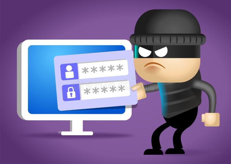 Хакер ломает в компьютер 2d иллюстрация иллюстрация штока
