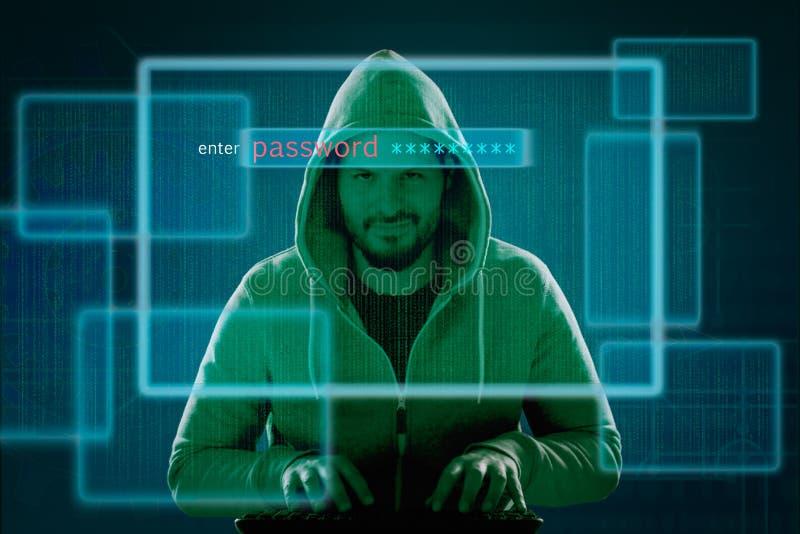 Хакер на компьютере прорезывает брандмауэр и узнает пароль иллюстрация штока