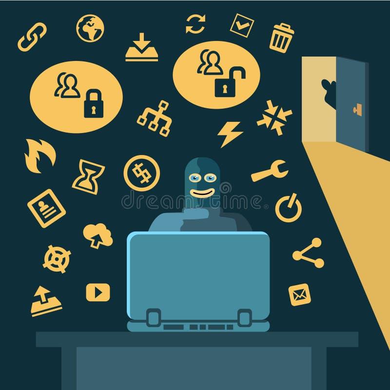 Хакер ломает в компьютер бесплатная иллюстрация