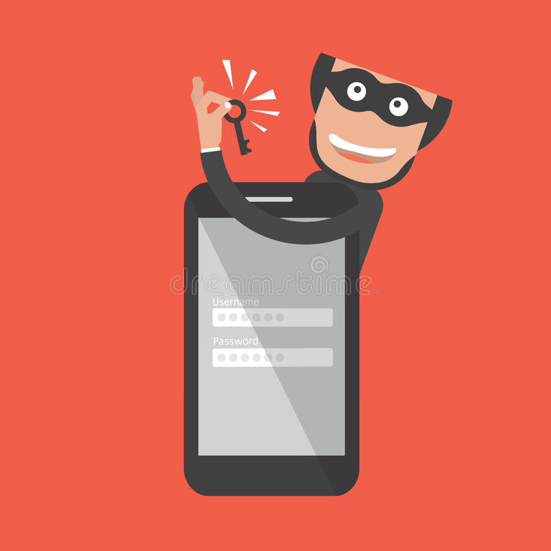 Хакер ломает в Smartphone белизна похищения предпосылки изолированная данными иллюстрация штока