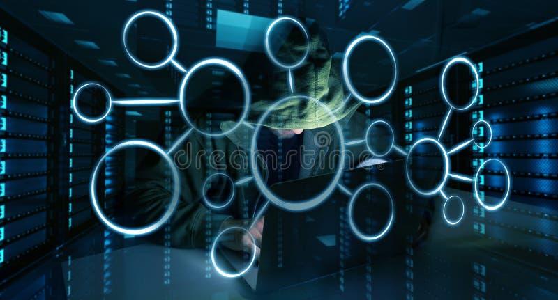 Хакер достигая к личным данным по данных с компьютером 3D иллюстрация штока