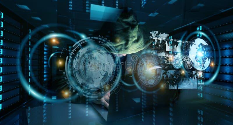 Хакер достигая к личным данным по данных с компьютером 3D иллюстрация вектора