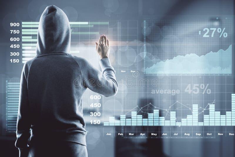 Хакер с финансовым экраном диаграммы стоковые изображения