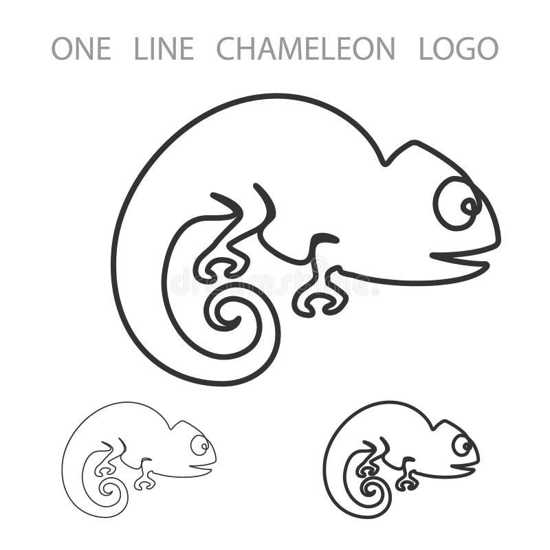 Хамелеон Одна линия логотип Логотип стиля минимализма вектор иллюстрация вектора
