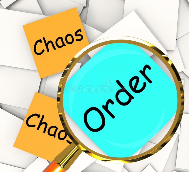 Хаосы приказывают Пост-его завертывают приказанную выставку в бумагу дезорганизованную или иллюстрация вектора