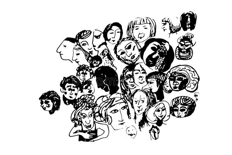 Хаотический чертеж стилизованных человеческих голов бесплатная иллюстрация