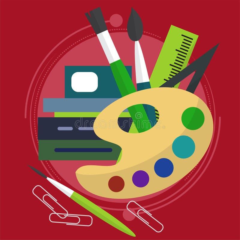 Хаотическое распространение краска с щетками, книгами и бумажными зажимами также линия задняя школа к архитектурноакустический пр бесплатная иллюстрация
