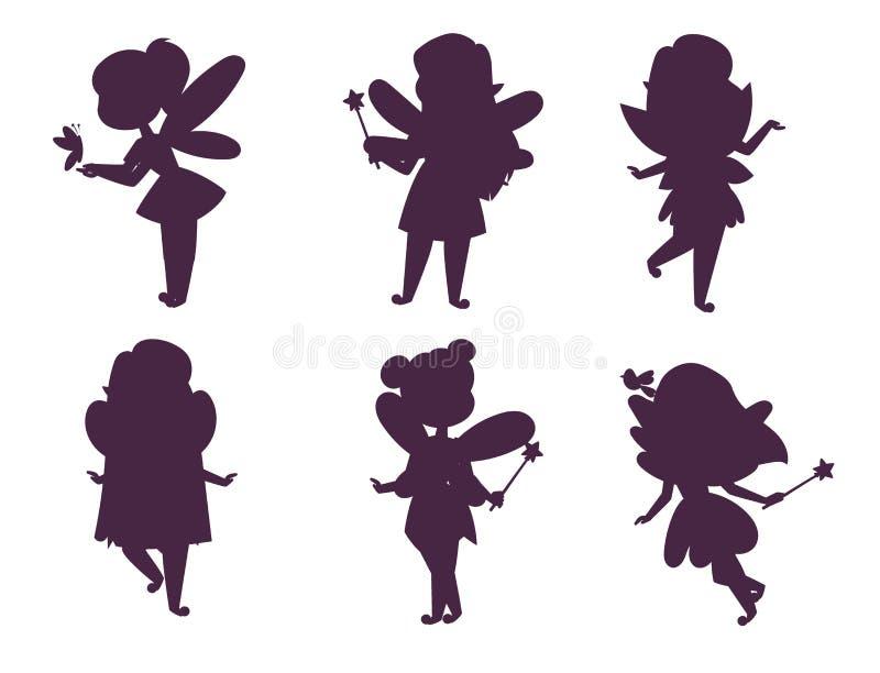 Характера вектора девушки силуэта принцессы фей шарж стиля fairy милый красивый меньший костюм моды fairyland иллюстрация вектора