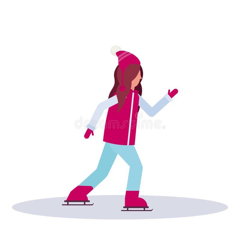 Характера коробки одежд зимы дамы деятельностям при спорта катка маленькой девочки катаясь на коньках нося профиль женского полно бесплатная иллюстрация