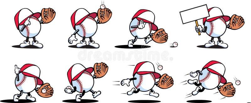 характеры бейсбола иллюстрация вектора