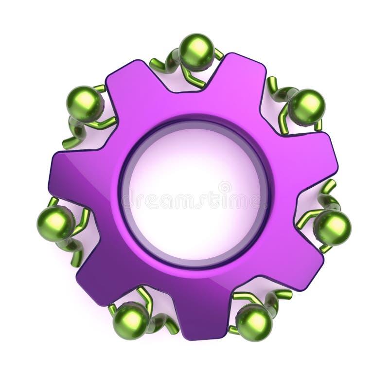 Характеры бизнес-процесса Cogwheel, фиолетовое колесо шестерни иллюстрация штока