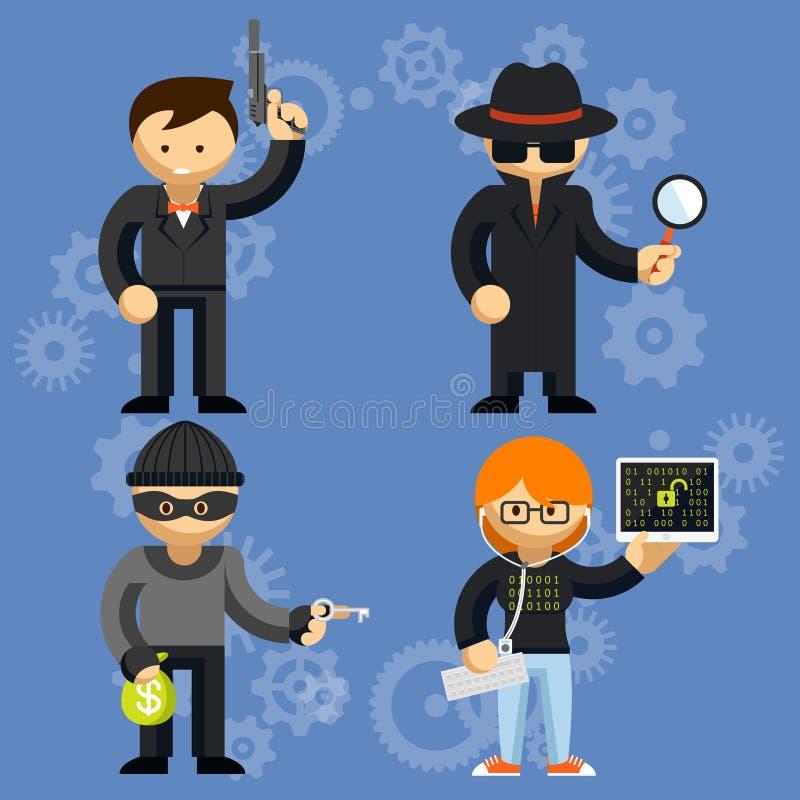 Характеры вектора, который включили в преступные деятельности бесплатная иллюстрация