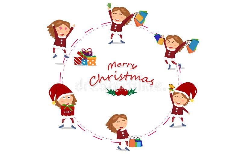 Характеры вектор девушки, продажа, дизайн кольца круга, рождество и иллюстрация штока