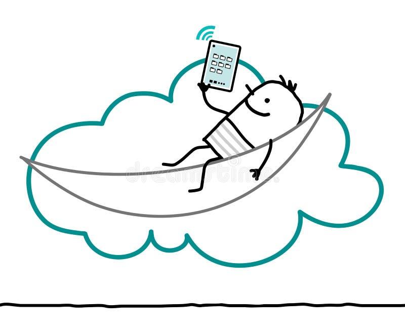 Характеры и облако - отдых иллюстрация вектора