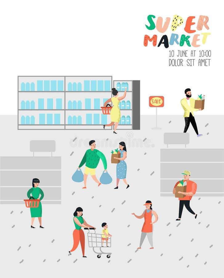 Характеры людей ходя по магазинам в супермаркете с сумками и плакатом тележек Продукты плоского клиента шаржа покупая, кассир бесплатная иллюстрация