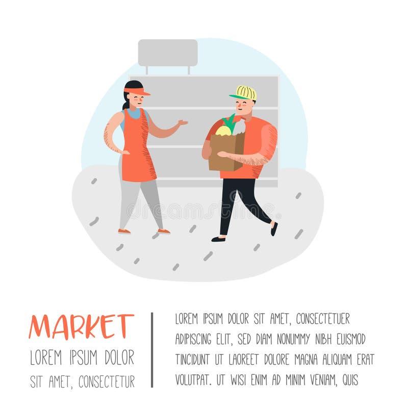 Характеры людей ходя по магазинам в супермаркете с сумками и плакатом тележек Продукты плоского клиента шаржа покупая, кассир иллюстрация вектора