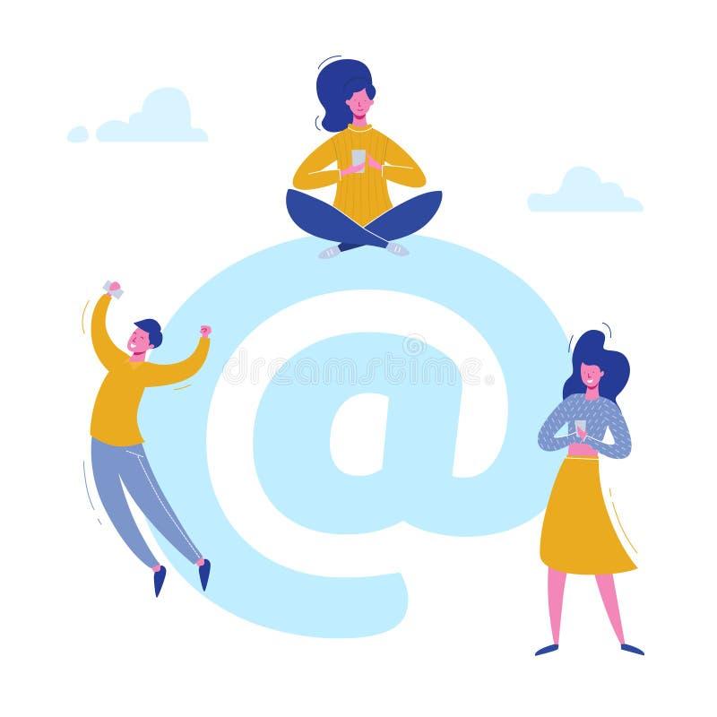 Характеры людей электронной почты беседуя с телефонами на социальных средствах массовой информации, отправляя почту Дизайн для зн иллюстрация вектора