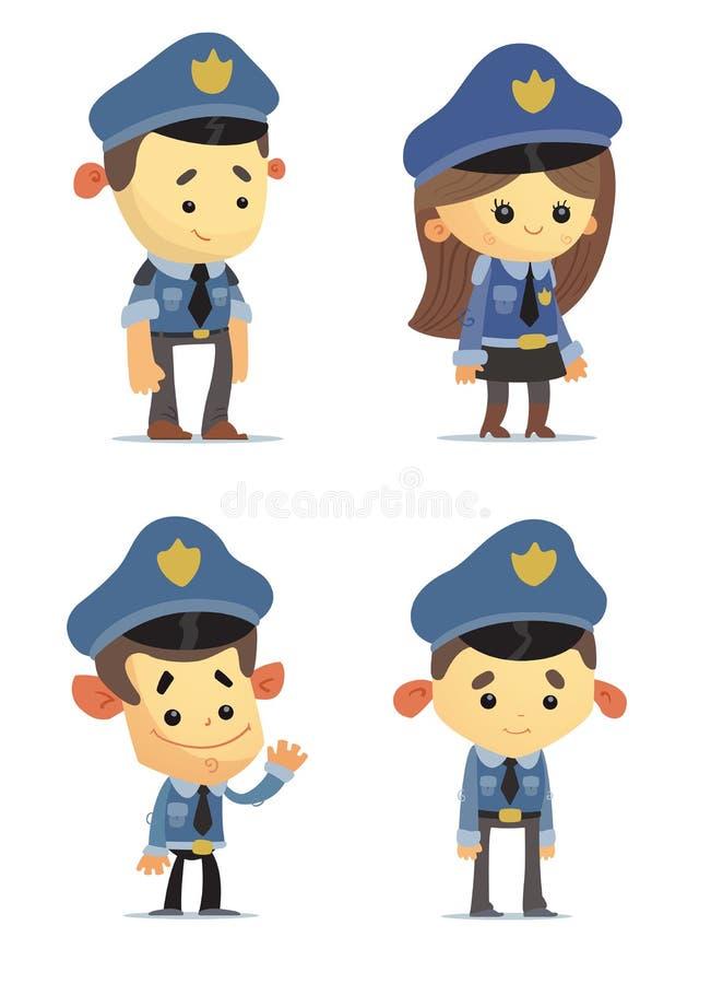 Характеры полиции иллюстрация вектора