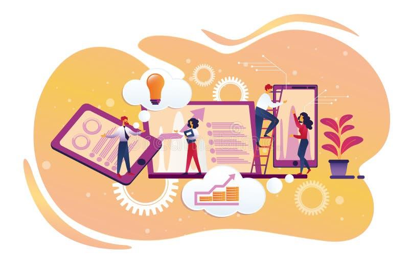 Характеры предпринимателей связывая в офисе иллюстрация вектора