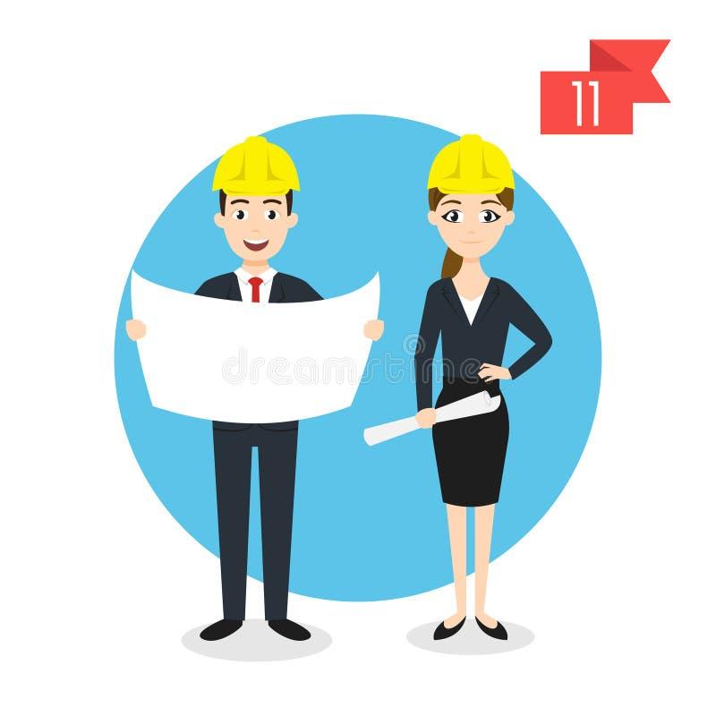 Характеры профессии: человек и женщина Инженер бесплатная иллюстрация
