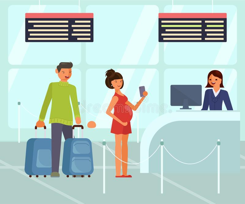 Характеры путешественников с багажом на авиапорте иллюстрация штока