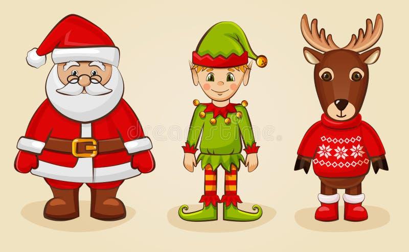 Характеры рождества: Санта, эльф и северный олень вектор комплекта сердец шаржа приполюсный бесплатная иллюстрация