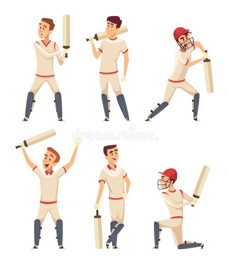Характеры сверчка Комплект различных игроков спорта в действии представляет иллюстрация вектора