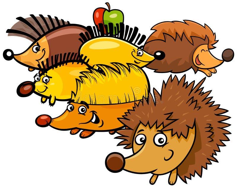 Характеры смешного мультфильма ежей животные иллюстрация вектора