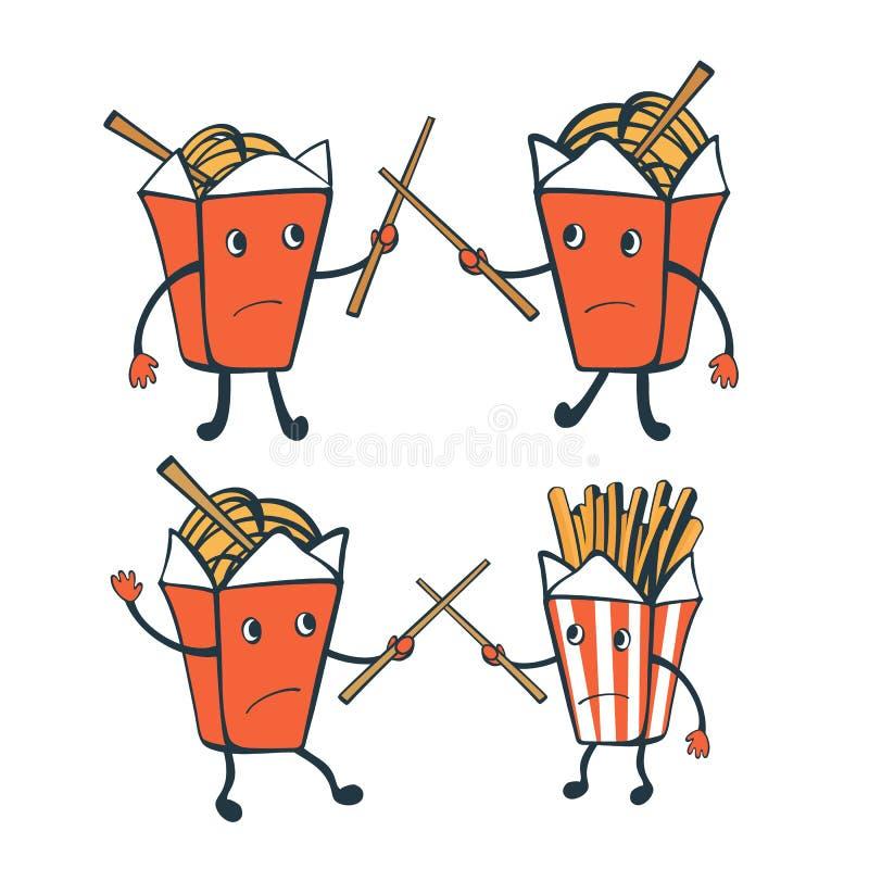 характеры смешные Китайские коробки еды иллюстрация штока