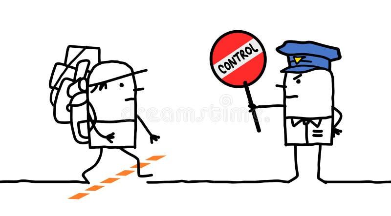 Характеры - управление полиции - пограничная полоса бесплатная иллюстрация