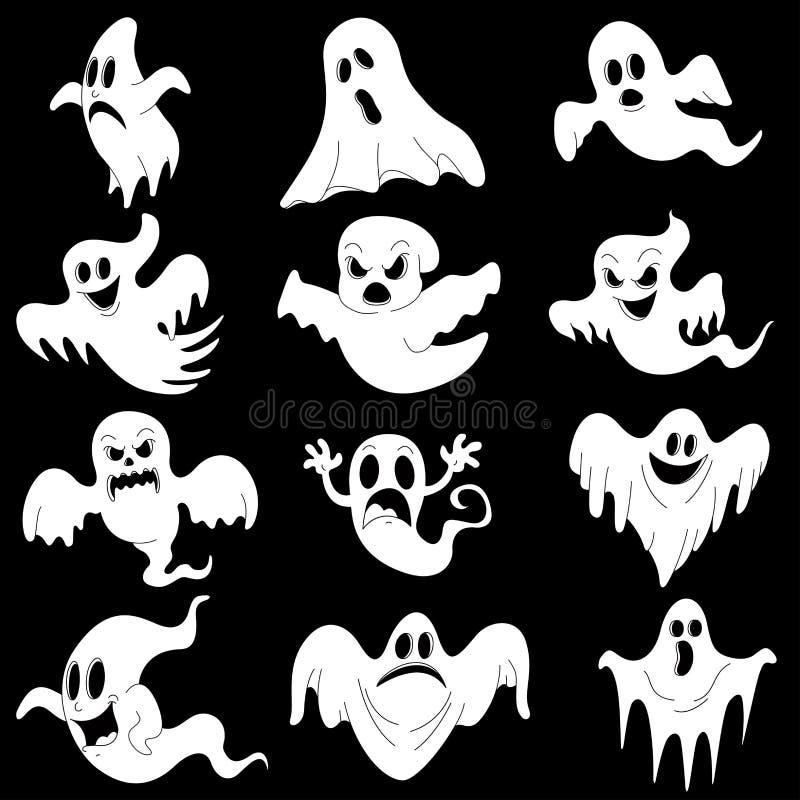 Характеры хеллоуина установили страшных белых призраков для дизайна изолированный стоковая фотография rf
