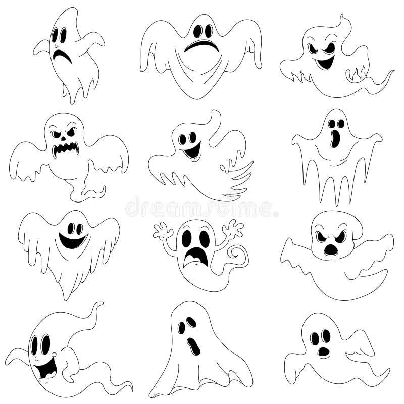 Характеры хеллоуина установили страшных призраков для дизайна бесплатная иллюстрация