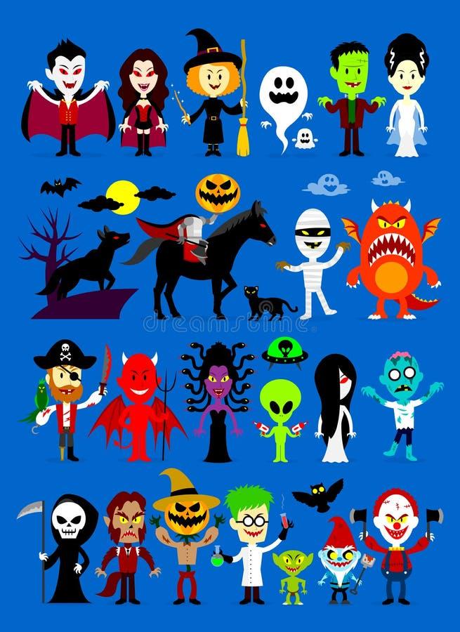 Характеры хеллоуина месива извергов иллюстрация штока