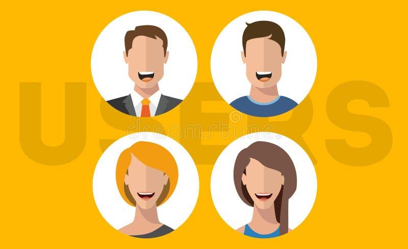 Характеры человек и женщина вектора потребителя плоские стоковые изображения