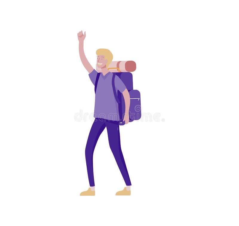 Характеры человек и женщина людей для пешего туризма и trekking, вектора перемещения праздника, hiker и иллюстрации туризма : иллюстрация вектора