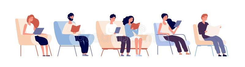Характеры читателей Книги чтения людей сидя на стуле в bookstore Студенты изучая в векторе университетской библиотеки иллюстрация вектора