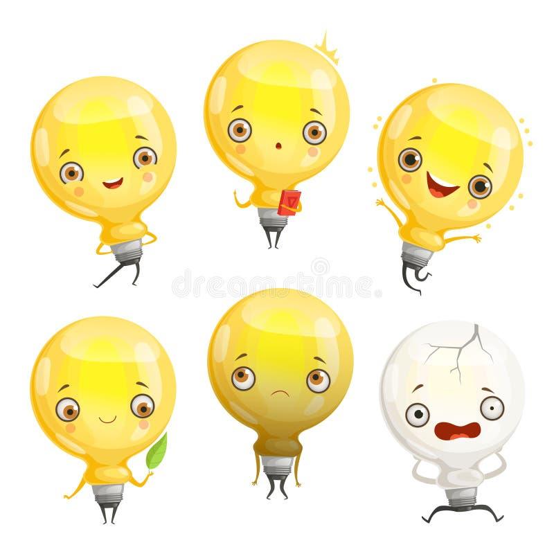 Характеры шарика Талисман лампы мультфильма в динамических представлениях и изображении вектора эмоций потехи иллюстрация вектора